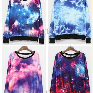 Women's Galaxy Space Starry Print Flannel Long Sleeve Jumper Top Round T Shirt