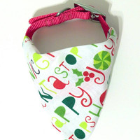 Red White & Green Christmas Winter Holiday Monogrammed/Personalized Slip On Dog Puppy Over Collar Bandana Neckerchief Pet Fashion Accessory