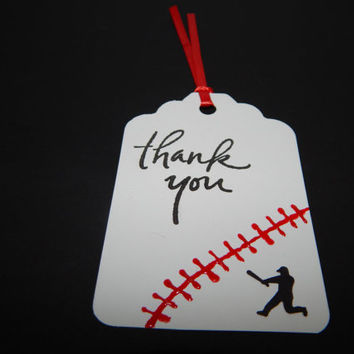 Baseball Gift Tags - Baseball Birthday Decor - Baseball Party Favor Tags - Set of 12