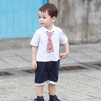 New Fashion Summer Gentleman Baby Rompers Fake 2 Pieces Cotton Bow Tie Costume Infant Jumpsuit Newborn Boys Clothes