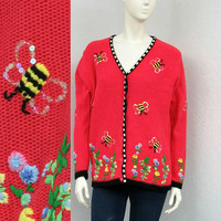 Vintage 90s Coral Pink Cardigan Sweater, Bumble Bee Sweater, Floral Cardigan, Ugly Sweater, Tacky Sweater, Oversized Cardigan, Cute Cardigan