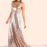 Champagne Gold Sequins Open Back Gown