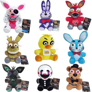 New Arrival  At  4  Plush Toys 18cm Freddy Bear Foxy Chica Bonnie Plush Stuffed Toys Doll for Kids Gifts