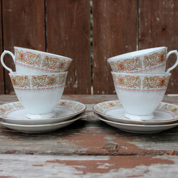 Vintage Set of Four (4) Teacup and Saucer Set | Fine China | Made in China