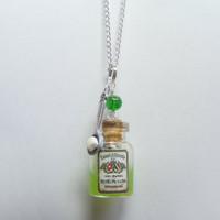 Absinthe Green Fairy Bottle Miniature Food Necklace by NeatEats