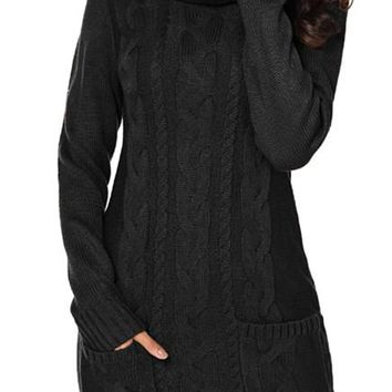 Black Cowl Neck Pockets Cable Knit Sweater Dress