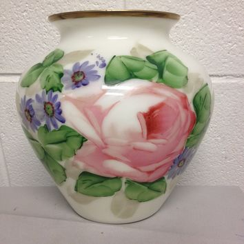 Old French Hand Painted Large Pink Rose Opaline Glass Vase