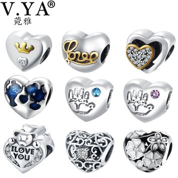 V.YA 925 Sterling Silver Charms Beads fit for Pandora Bracelet Necklace Women Men DIY Bead for Jewelry Making Valentine's Day