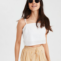 AE Textured Tie Crop, White