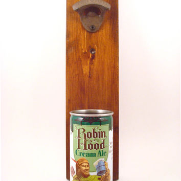 Vintage Robin Hood Cream Ale Wall Mounted Bottle Opener Beer Can Cap Catcher - Birthday, Groomsmen, Or Guy Gift