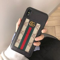 GUCCI Fashion Cover Case for iPhone 8 iPhone 8 Plus iPhone X iPhone XS iPhone XS MAX iPhone XR