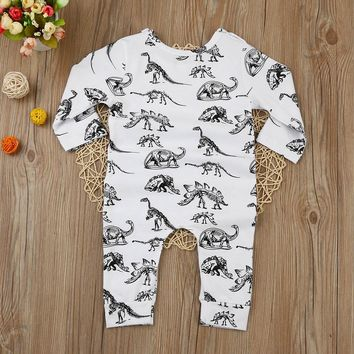 Infant Cute Cartoon Dinosaur Baby Boy Girl Rompers Soft Cotton Printed Long Sleeve Toddler Jumpsuit Kids Clothes