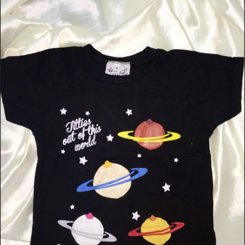 SWEET LORD O'MIGHTY! TITTIES GALAXY CROP TEE