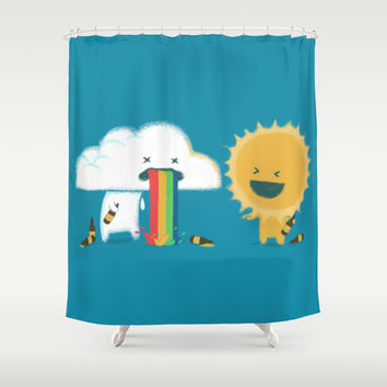 Binge Drinking and Colorful Rainbow Shower Curtain by Budi Satria Kwan