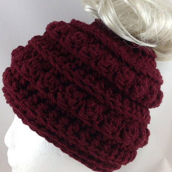 Messy Bun Beanie - Pony Tail Hat - Mom Life Beanie - Messy Bun Hat - Adult Ear Warmer Hat - Mom Life Hat - Crochet Beanie - Mom Bun