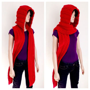 Red Crochet Scoodie. Hooded Scarf. Chunky Hooded winter Scarf.