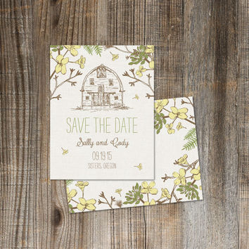 Printable Save the Date Postcard - Summer Barn - Hand Drawn Barn with Rustic Nature - Succulents, Branches, Ferns & Pine Bow