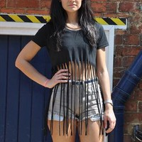 Retro 90's Black Fringed Dress Crop Top T Shirt 2118 from Gone Retro