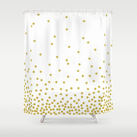 Gold Polka Dot Shower Curtain By Cafelab