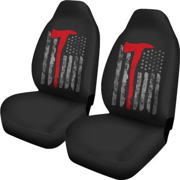 Thin Red Line Firefighter American Flag Universal Fit Car Seat Covers