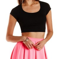 Short Sleeve Scoop Neck Crop Top by Charlotte Russe