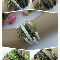 New Fashion Retro Love Hearts BEST FRIEND Leather Knit Rope Handmade Bracelet Friendship Gift 5 Colors = 1958336516