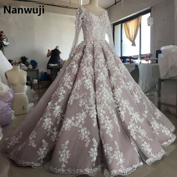 Robe De Mariage  3D Flowers Luxury Full Pearls Wedding Dress Long Sleeves Ball Gown 2016 Muslim  Wedding Dresses