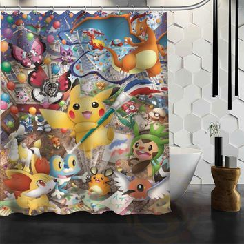 Best Nice Custom  Shower Curtain Bath Curtain Waterproof Fabric For Bathroom MORE SIZE WJY&76Kawaii Pokemon go  AT_89_9