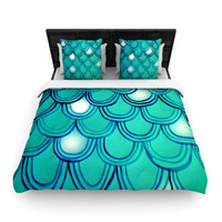 "Theresa Giolzetti ""Mermaid Tail"" Teal Blue Woven Duvet Cover"