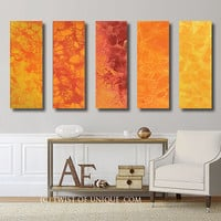 Minimalist Gallery Painting  / CUSTOM 5 Panel (36 Inches x 12 Inches) Large abstract art / warm colors, Orange, Red, Yellow