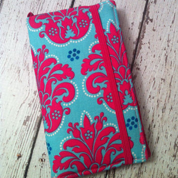 Hot pink and blue damask print iPhone 3, 4, 4S, 5,  iPod Touch 4G, 5 wallet with removable gel case