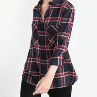 Navy Plaid Pocket Detail Roll-up Sleeve Side Split Shirt