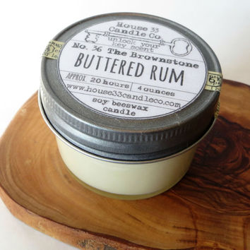 organic soy beeswax candle, No. 36 The Brownstone | Buttered Rum scented infused essential oils, natural hand poured vintage style jelly jar
