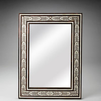 Transitional Rectangular Bone Inlay Wall Mirror Light Brown