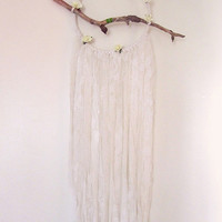 Boho Floral Dreamcatcher - Bohemian Decor - Wall Hanging Dream Catcher - Gypsy Bedroom Decor - White Lacy Dreamcatcher - In Stock