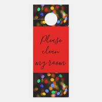 Multicolored Christmas lights. Add text or name. Door Hanger