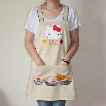 Bodecin Beige Hello Kitty Japanese Woman Kitchen Apron Avental de Cozinha Divertido Tablier Cuisine Pinafore Apron