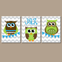 OWL Wall Art Nursery Canvas Artwork Boy Child Green Blue Personalized Name Bunting Flag Set of 3 Prints Flower   Decor Bedroom  Three