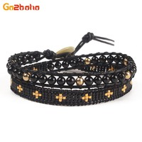 Go2boho Punk Multilayer MIYUKI beads Wrap Bracelet women Black gold Beaded Charms Leather Braided Bracelet for men jewelry Gift