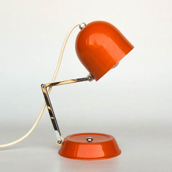 Mid Century Modern Atomic  Desk Lamp / Adjustable Neck Table Light  / Verner Panton Style Space Age Lighting / 70's Retro Decor / Orange