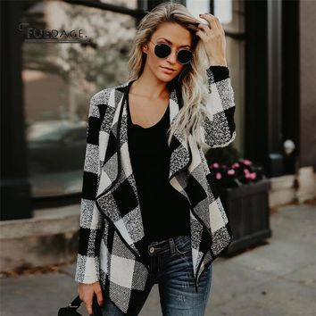 Fuedage Fashion Autumn Motorcycle Women Jacket 2017 High Quality Plaid Coat Female Wool Casual Winter Jacket Outerwear