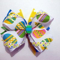 Striped and Polka Dot Easter Egg Over the Top Hair Bow