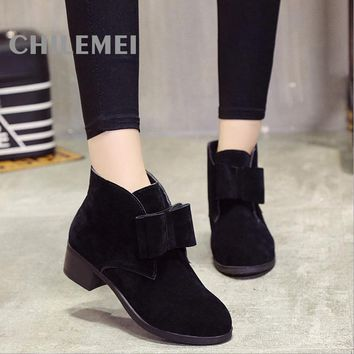 New 2016 Autumn Winter Women Ankle Boots Solid Color Nubuck Soft Leather Square Heel Low Heel Fashion Woman's Shoes