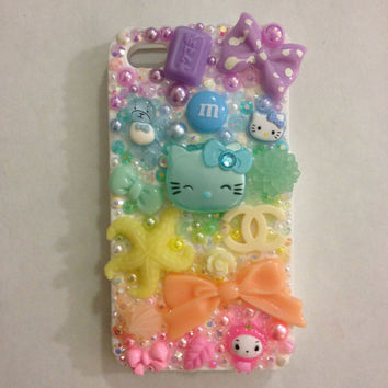 kawaii PASTEL RAINBOW iphone 4 decoden case with lipgloss
