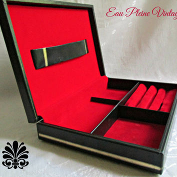 Mens Jewelry Box Valet  Embossed Vinyl Gold Trim Swank Red Velveteen Made in Sweden