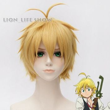 The Seven Deadly Sins Meliodas Dragon's Sin of Wrath Short Blonde Cosplay Wig