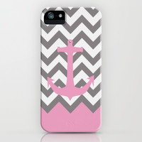 Pink & Gray Chevron Anchor iPhone & iPod Case by PinkBerryPatterns