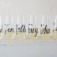 Personalized Wine Flutes, Glasses, Recyclable with Personalized Wedding Calligraphy for Bachelorette Party, Wedding, Shower or Event