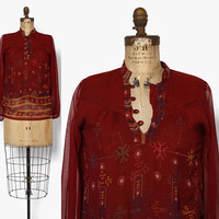 Vintage 70s Gauzy Indian Blouse / 1970s Burgundy Floral Semi Sheer Long Sleeve Top