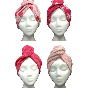 Pink Heart Hair Towel - Set of Four